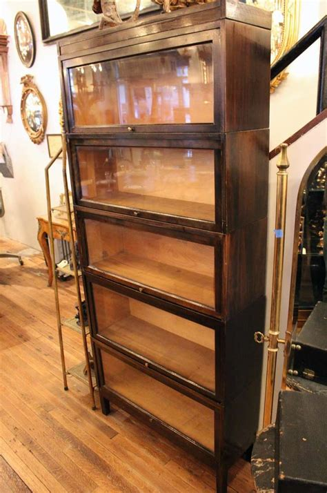 barrister bookcase for sale shaw walker antique dark brown barrister bookcase at 1stdibs