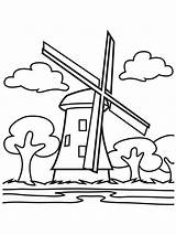 Windmill Coloring Printable Mycoloring sketch template