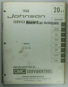 1968 Omc Johnson Outboard Service Manual 20 Hp  Fd