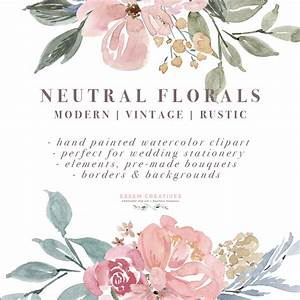 neutral watercolor flowers clipart floral borders With wedding invitations with flowers vintage frame