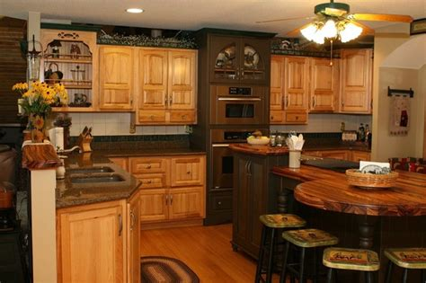hickory kitchen with unique island shape traditional