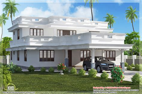 flat roof home design with 4 bedroom home appliance