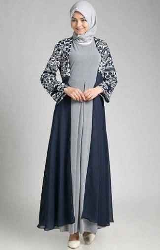 model baju gamis batik terbaru  kombinasi modern