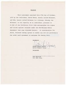 lot detail david bowie rare signed document with full With a signed documents