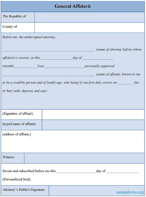 general affidavit template 38 exles of affidavit form templates thogati
