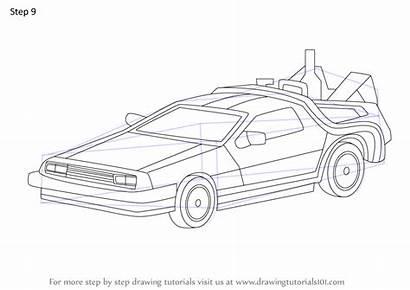 Future Delorean Draw Step Drawing Tutorials Tutorial