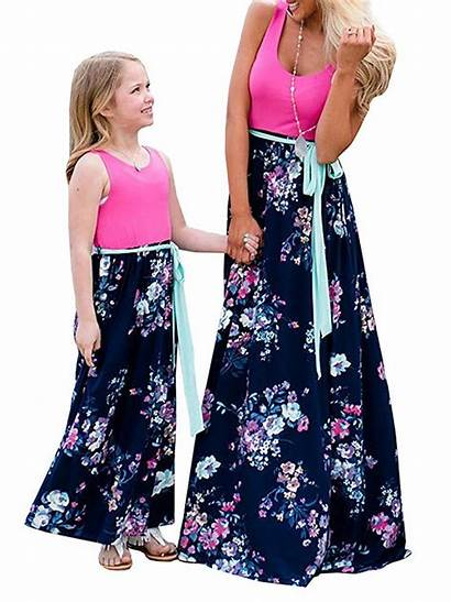 Floral Casual Matching Summer Outfits Maxi Daughter