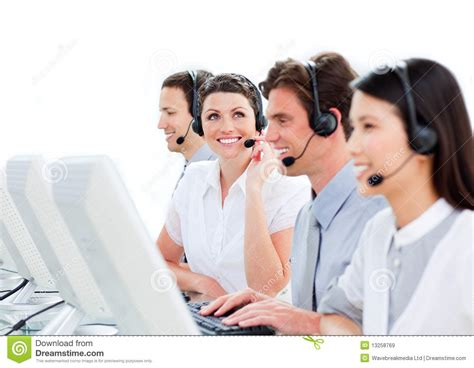 Customer Service Agents Working In A Ca Royalty Free Stock