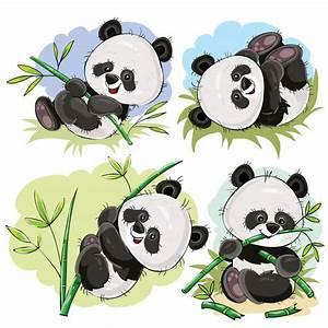 Playful panda bear baby with bamboo cartoon vector Vector Free Download