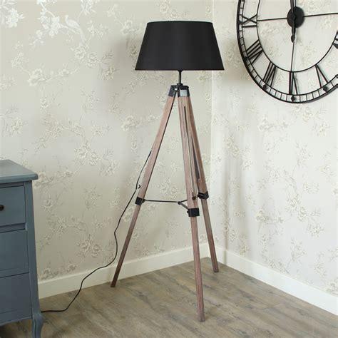 wooden tripod floor l with grey shade floor standling l wooden tripod l with shade