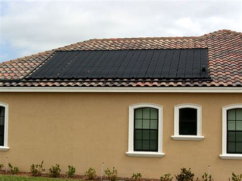 heliocol solar pool system on a barrel tile roof