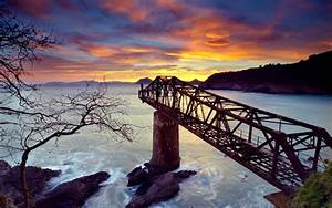 Nature, Landscape, Water, Sea, Bridge, Destroyed
