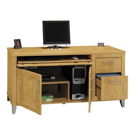 bush somerset desk 60 bush somerset 60 quot wood computer credenza in maple cross
