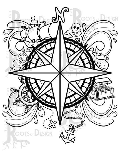INSTANT DOWNLOAD Coloring Page -Pirate Compass Design