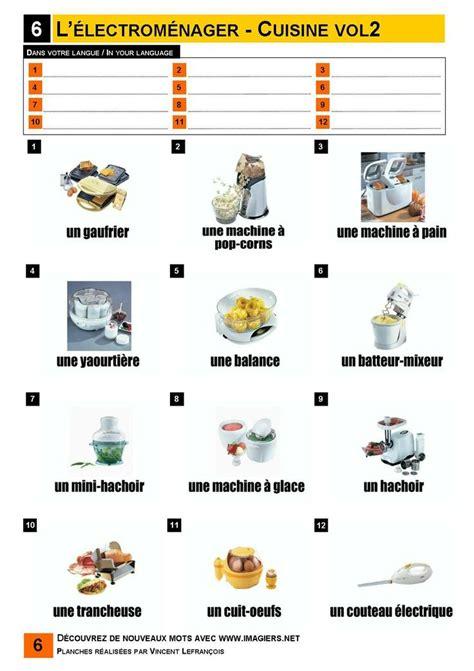 vocabulaire cuisine l 39 électroménager cuisine 2 vocabulaire imagiers