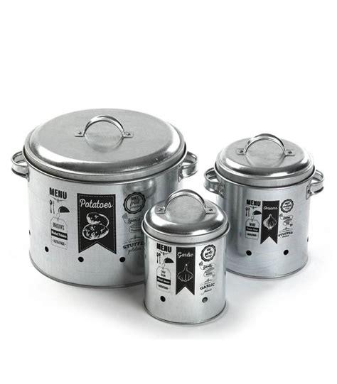 rangement pomme de terre cuisine set de 3 pots de conservation en métal pour ail oignon et