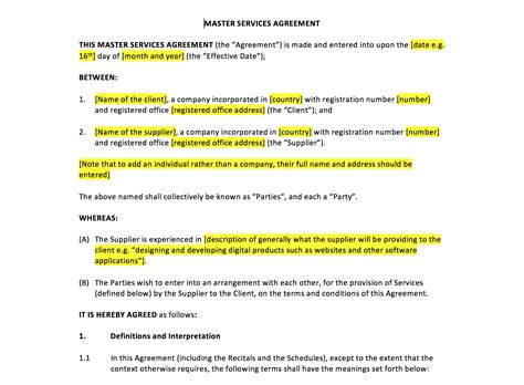 master service agreement template master services agreement template uk template agreements and sle contracts