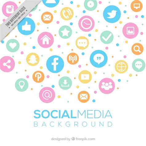Social Media Background Social Media Background In Pastel Colors Vector Free