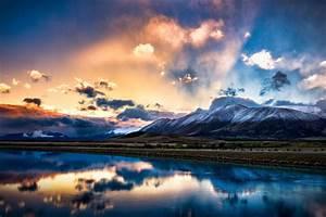 New, Zealand, South, Island, Mountains, Snow, Lake, Reflection, Sky, Clouds, Sunrise, Sunset