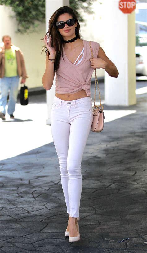 Sara Sampaio in Skinny White Jeans -07 | GotCeleb