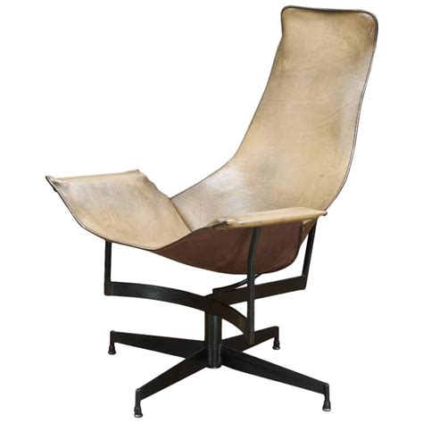katavolos swivel leather sling lounge chair for sale at