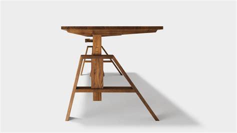 bureau ajustable bureau atelier ajustable en hauteur et en bois naturel