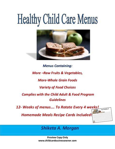 Healthy Child Care Menus E Book Preview Copy