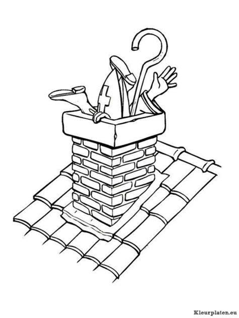 Kleurplaat Piet In Schoorsteen by Zwarte Piet Op Het Dak Met Een Ladder Kleurplaat