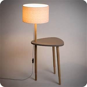 Lampe Chevet Scandinave : lampe table de chevet ou d 39 appoint en bois naturel et medium gris b ton de style vintage ~ Teatrodelosmanantiales.com Idées de Décoration
