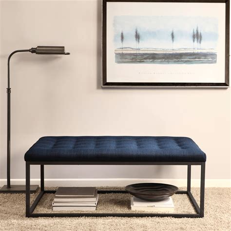 Cloth Ottoman Coffee Table by Strick Bolton Renate Navy Linen Coffee Table Ottoman