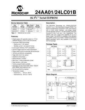 Fillable Online Microchip 24LC01B-I/P datasheet: pdf