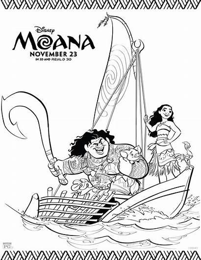 Coloring Moana Disney Sheets Activity Disneys