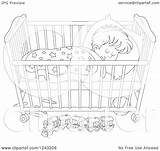 Sleeping Crib Boy Toddler Clipart Illustration Cot Royalty Bannykh Coloring Alex Vector Pages Regarding Notes Template sketch template