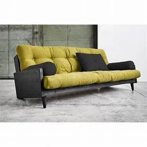 canapes futon canapes et convertibles canape noir 3 4 With canapé futon convertible