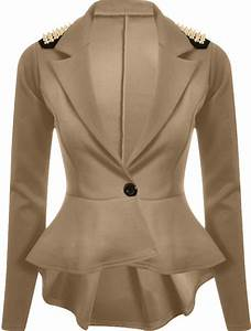New Womens Plus Size Gold Studded Peplum Blazer Jacket ...