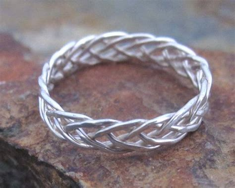 sterling silver braided ring  strand braided ring