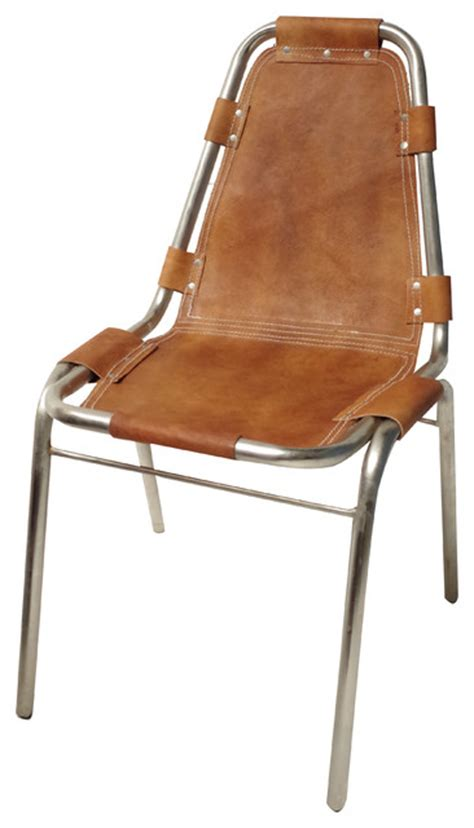leather chrome sling chair industrial dining chairs