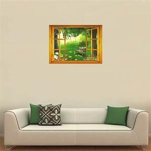 Mur Trompe L Oeil : sticker trompe l 39 oeil vue sur le jardin ~ Melissatoandfro.com Idées de Décoration