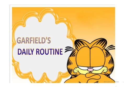 Garfield´s Daily Routine Worksheet  Free Esl Projectable Worksheets Made By Teachers