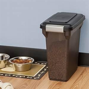 IRIS Airtight Pet Food Storage Container, Smoke/Black, 15 ...