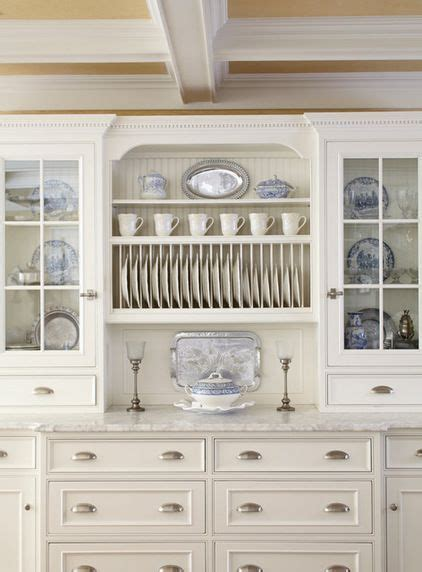 traditional kitchen  white cabinets   plate rack  show   transferware dishe
