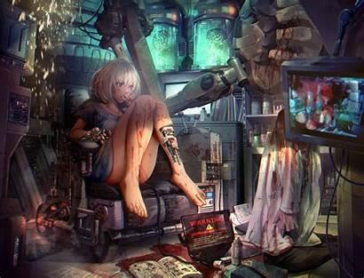 Steampunk Anime Cyborg Barefoot Characters Mecha Wallhaven