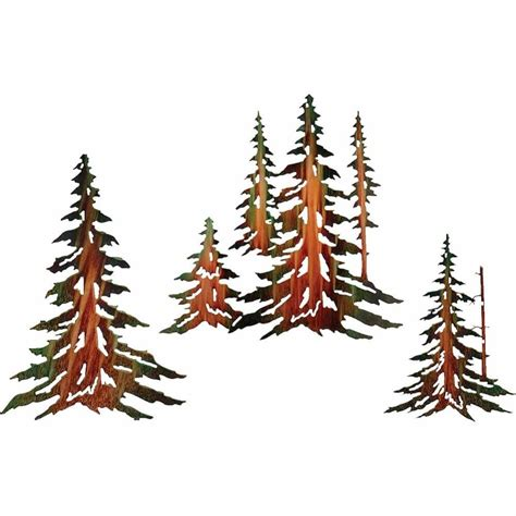 pine tree wall art set cabin place