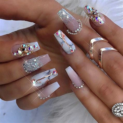 sparkling nail designs  diamonds  summer time