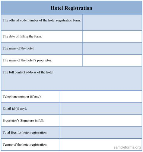 Hotel registration form template costumepartyrun hotel registration form sample forms thecheapjerseys Choice Image