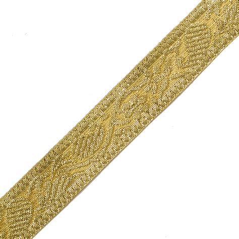 21mm Metallic Gold Jacquard Ribbon Trim By Yard Joyce Trim