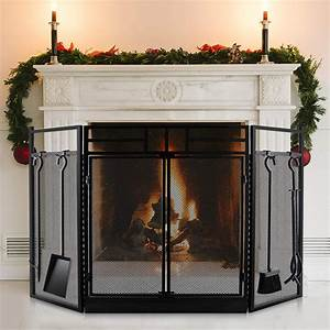 Fireplace, Screen, With, Doors, Large, Flat, Guard, Fire, Screens, With, Tools, Outdoor, Metal, Decorative