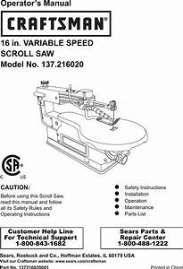 Craftsman 16 Variable Speed Scroll Saw 21602 Owners Manual