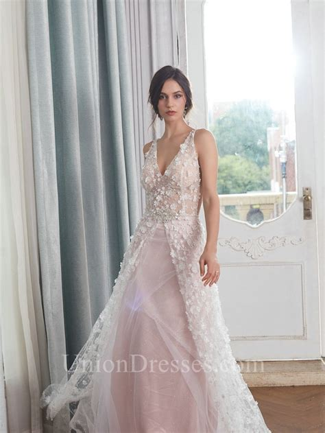 Romantic A Line Spaghetti Straps Blush Pink Tulle Beaded ...