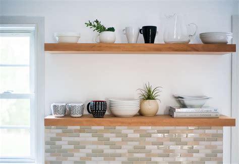 learn   hang open kitchen shelves floating shelves